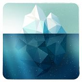 stock photo of iceberg  - Arctic iceberg vector picture in grunge white frame with snow illustration - JPG