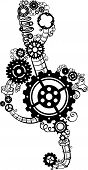 stock photo of treble clef  - Treble clef of various gears pipes and springs - JPG