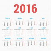 pic of monday  - Calendar for 2016 on White Background - JPG
