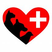 stock photo of bird-dog  - Veterinary symbol depicting dogs guts bird on a white background - JPG