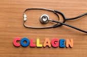 foto of collagen  - Collagen colorful word with Stethoscope on wooden background - JPG
