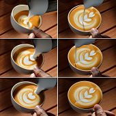 picture of latte  - Steps of making cafe latte art on the wooden table - JPG