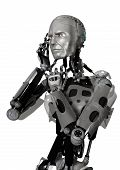 foto of cyborg  - 3D digital render of a male cyborg thinking isolated on white background - JPG