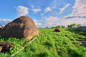 pic of haystack  - Haystack on the green grass in the spring - JPG