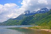 pic of annecy  - shore of Lake Annecy in the spring - JPG