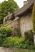 picture of english cottage garden  - A thatched cottage in the Peak District - JPG