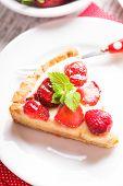 foto of custard  - Strawberry tart with custard on the table - JPG