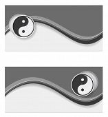 stock photo of ying-yang  - banner wave ying yang design web - JPG