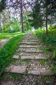 stock photo of paving  - River rough stones paved stairs going to top of the hill - JPG