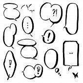 stock photo of manga  - Set of empty graphic black and white comics speech bubbles - JPG