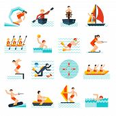 image of water jet  - Water sports flat icons set with kite sailing canoe isolated vector illustration - JPG