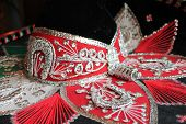 stock photo of mexican fiesta  - sequin and decorative ornate mexican hat ready for a fiesta - JPG
