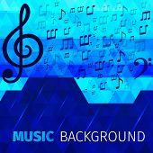 pic of treble clef  - Music abstract notes with bass and treble clefs on blue background vector illustration - JPG