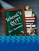 pic of starfish  - Blackboard with wooden frame and text School is out for summer stack of book blue waves seashells and starfish on blue wooden wall - JPG