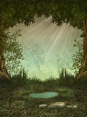 foto of ponds  - Fantasy landscape in the forest with a pond - JPG