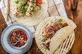 image of souvlaki  - Turkey kebab with parsley salsa kebab grilled delicious salsa - JPG