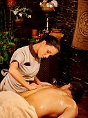 pic of ayurveda  - Man  having oil Ayurveda in luxury spa treatment - JPG