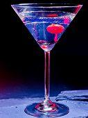 pic of black-cherry  - Transparent cherry cocktail on black background - JPG