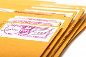 picture of telegram  - Yellow post envelopes with letters and a blank space for the address or an inscription - JPG