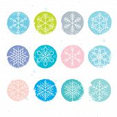 stock photo of pastel colors  - Colorful snowy set - JPG