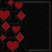 foto of flush  - Poker dark vector background with card symbols and gold frame - JPG