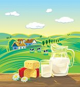 stock photo of milk products  - Countryside landscape with set of milk products - JPG