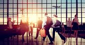 stock photo of hustle  - Airport Business Travel Walking Commuting Concept - JPG