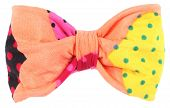 picture of bow tie hair  - Hair bow tie apricot orange with colorful multicolor details - JPG