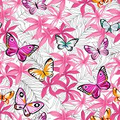 pic of jungle exotic  - Seamless exotic pattern with tropical leaves and flowers - JPG