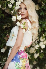 stock photo of wind-rose  - Gorgeous blond with long curly hair and blue eyes - JPG