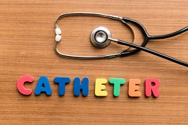 picture of catheter  - Catheter colorful word with Stethoscope on wooden background - JPG