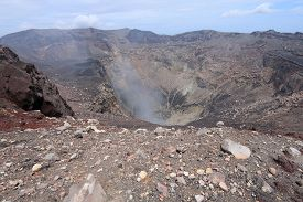stock photo of gases  - The active summit crater of San Miguel volcano in El Salvador - JPG