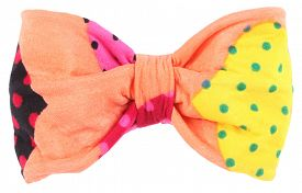 stock photo of bow tie hair  - Hair bow tie apricot orange with colorful multicolor details - JPG