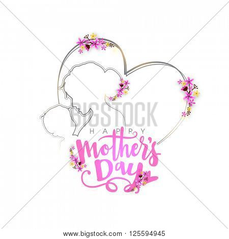 Elegant greeting card design with creative illustration of a woman and her child in heart shape for