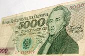 picture of chopin  - View of a Polish 5000 Zloty banknote showing the composer Chopin - JPG