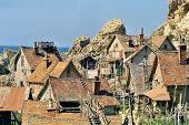 stock photo of popeye  - film set of popeye village in malta - JPG