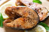 picture of salmon steak  - Grilled salmon - JPG
