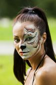 image of tigress  - Girl with tigress make up close up portrait - JPG