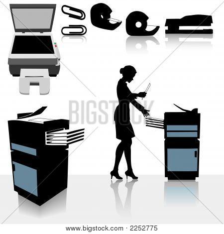 Постер, плакат: Управление Копировально множительная техника деловая женщина, холст на подрамнике