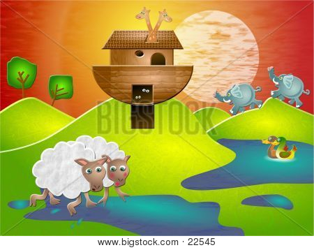 Picture or Photo of The ark has rested on a hilltop, the floods have subsided and the animals start to venture out and explore the land.