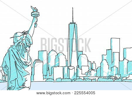 New York Cityscape Sketch Hand