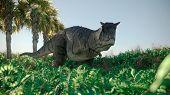 3d rendering of the walking carnotaurus dinosaur poster