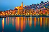Menton Provence village at night