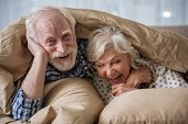 Cheerful Old Married Couple Lying In Bed Under Blanket. Woman Is Laughing And Man Is Looking At Came poster