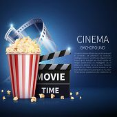 Cinema 3d Movie Vector Background With Popcorn And Vintage Film. Retro Cinema Poster. Banner Cinema  poster