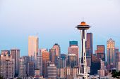 Skyline Of  Downtown Seattle At Dusk, Washington State poster