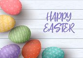 Happy Easter. Congratulatory Easter White Wooden Background. Easter Colorful Eggs With Different Sim poster