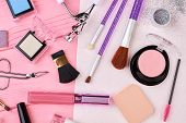 Make Up Products Kit, Top View. Various Brushes And Cosmetics For Applying Makeup. Makeup Artist Des poster