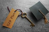 Gold Key With 529 Plan Tag And Mini Graduation Cap -- College Savings Concept poster