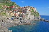 image of nea  - Italy. Colorful houses of Manarola village nea the sea